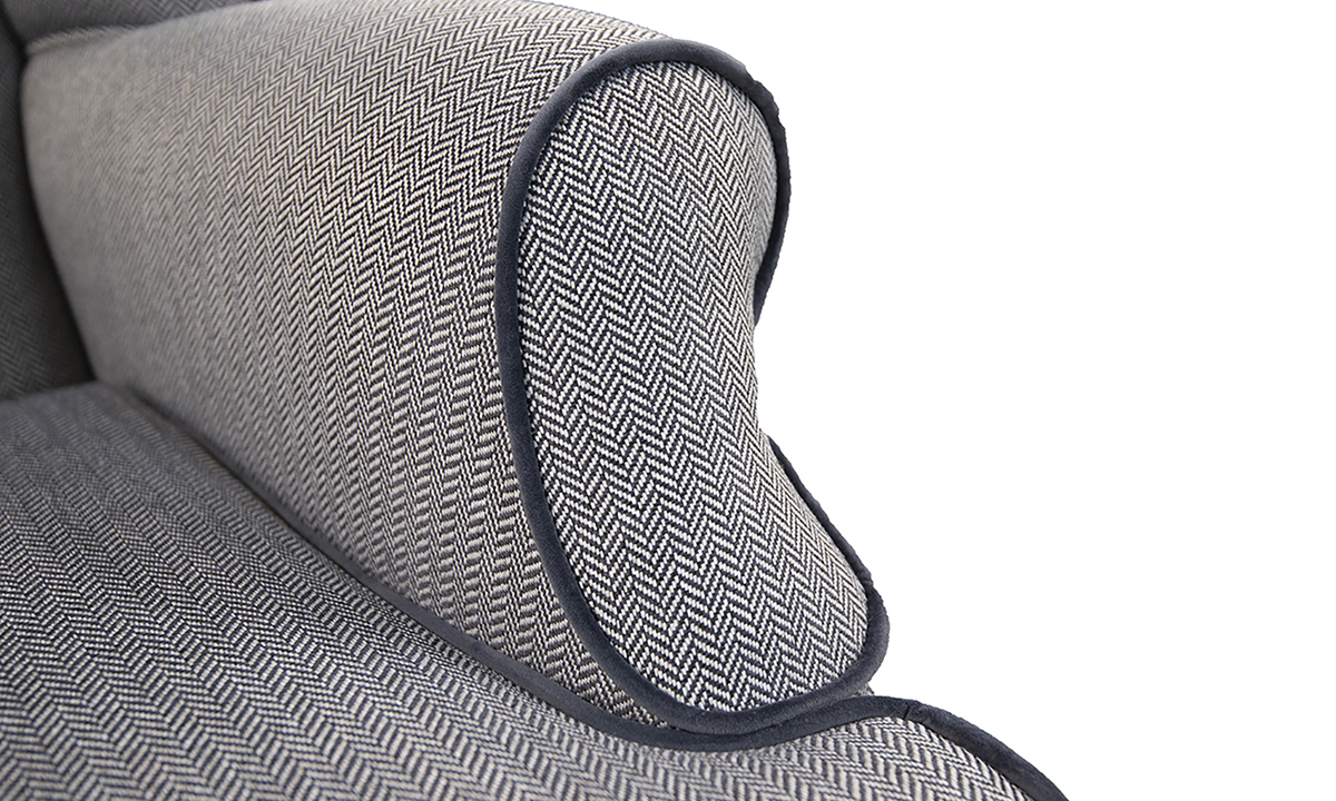 Queen-Anne-Two-Seater-arm-detail-in-Porto-Charcoal-Silver-Collection-Fabric