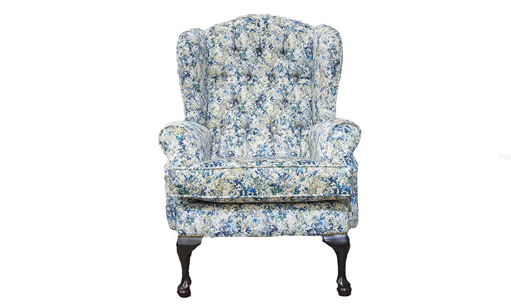 Queen Anne Chair Deep Button in Art of Loom, Utopia Monet Saison Winter, Platinium Collection Fabric