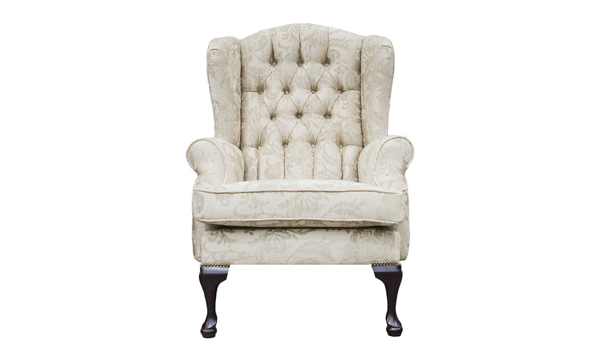 Queen Anne Chair Deep Button in Burton Champagne Pattern, Silver Collection Fabric