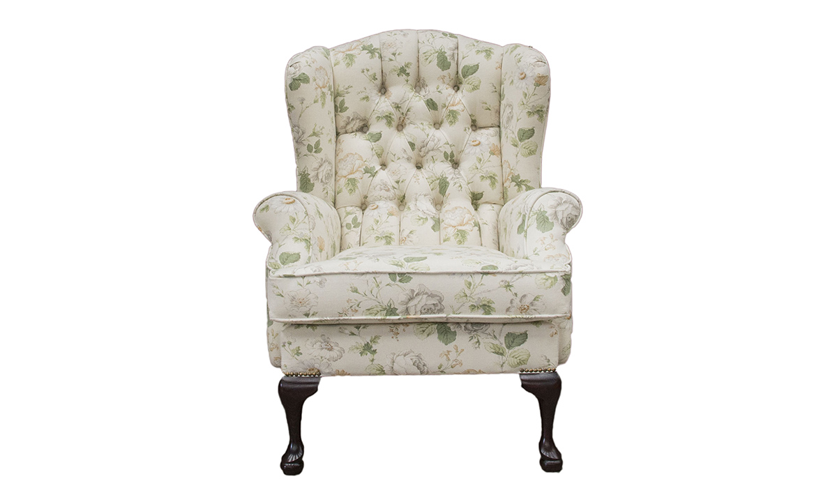 Queen Anne Chair Deep Button in Chantilly Daisy