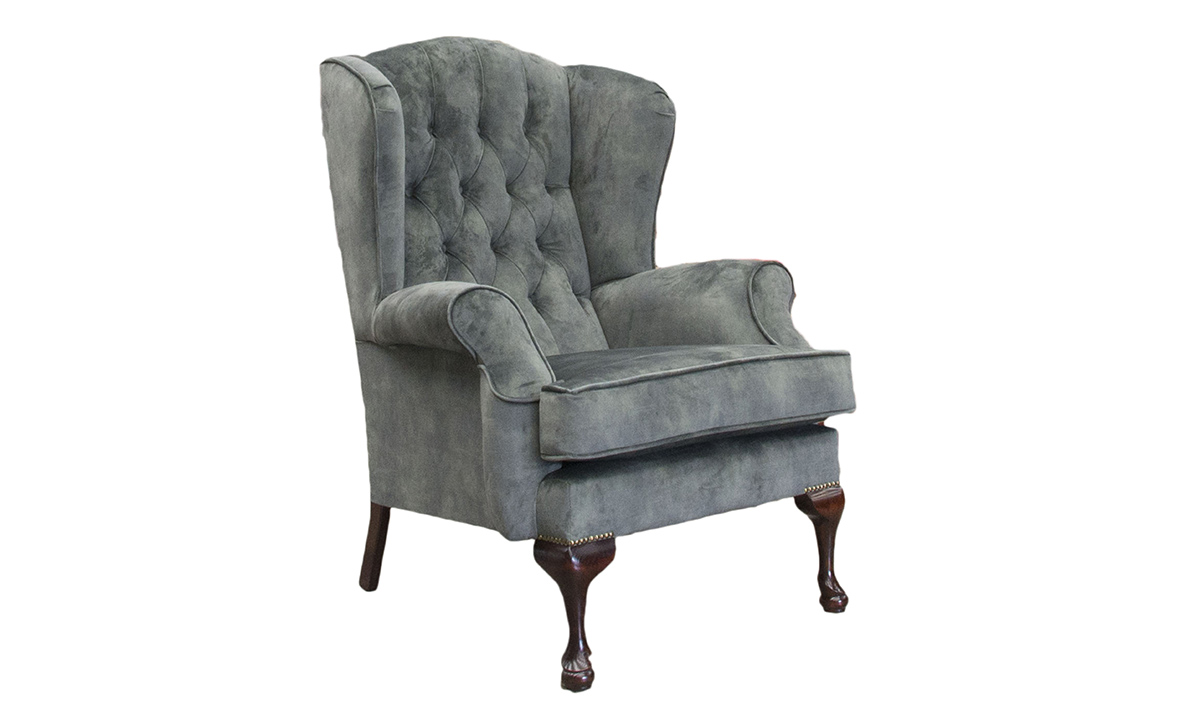 Queen Anne Chair Deep Button in Lovely Jade, Gold Collection Fabric