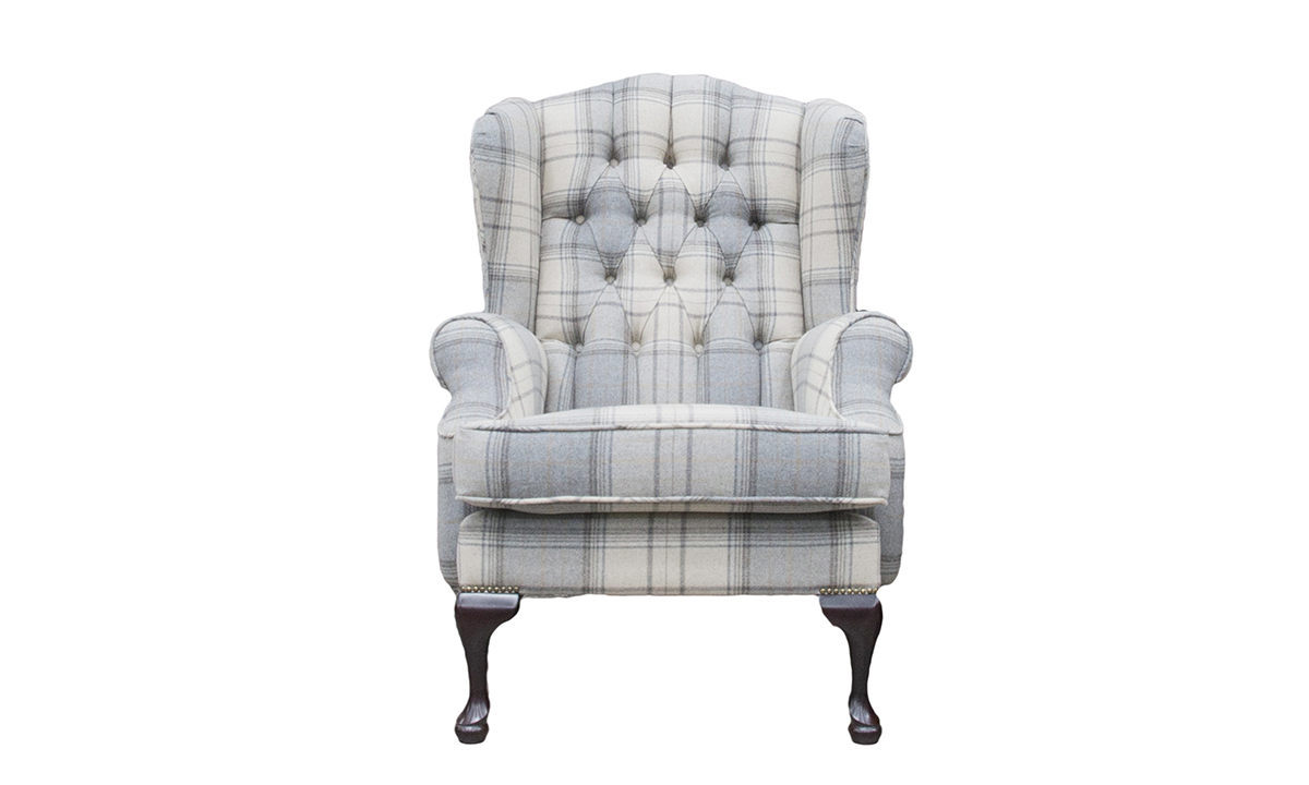 Queen Anne Chair Deep Button in Warwick Bainbridge Grey