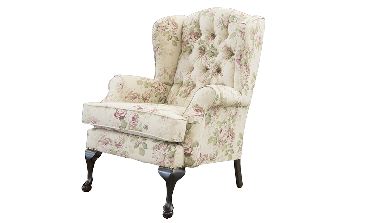 Queen Anne Chair Deep Button in Warwick Hawkswick Dusk