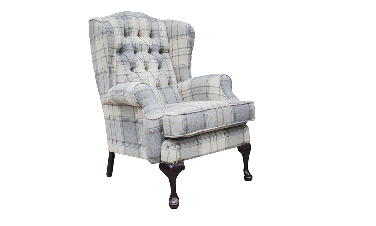 Queen Anne Chair Deep Button in Warwick Bainbridge Grey Platinum Collection