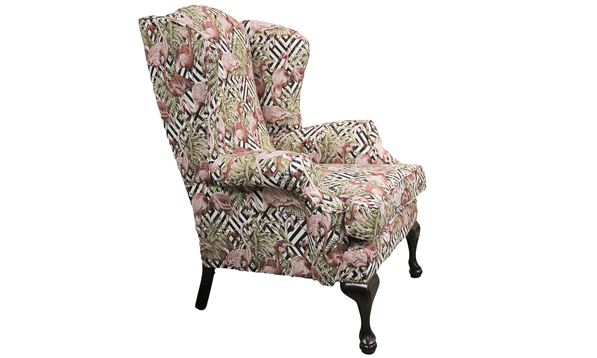 Queen Anne Chair in Flamingo Brick, Gold Collection Fabric