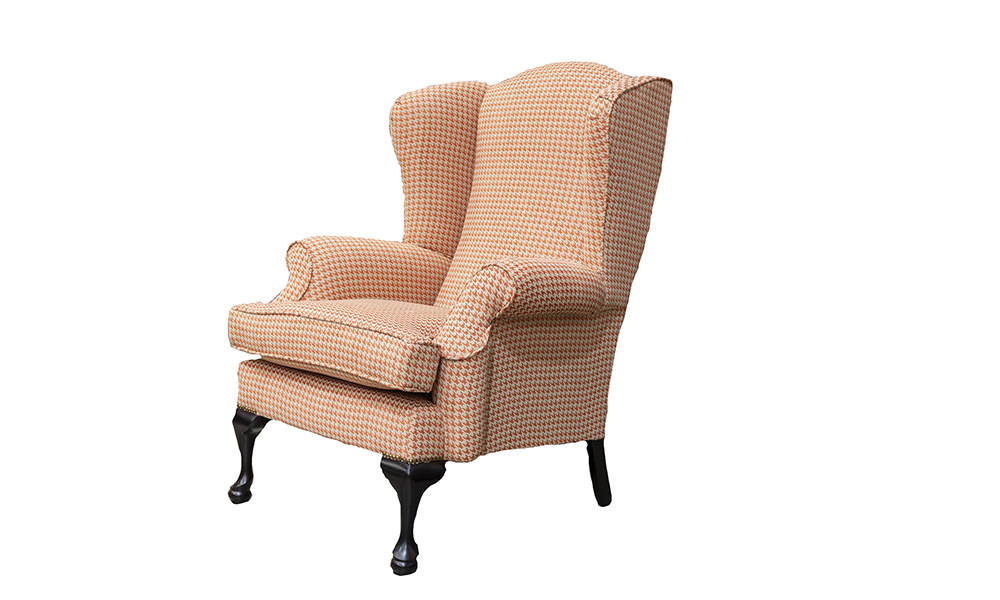 Queen Anne Chair in Poppy Orange, Silver Collection Fabric