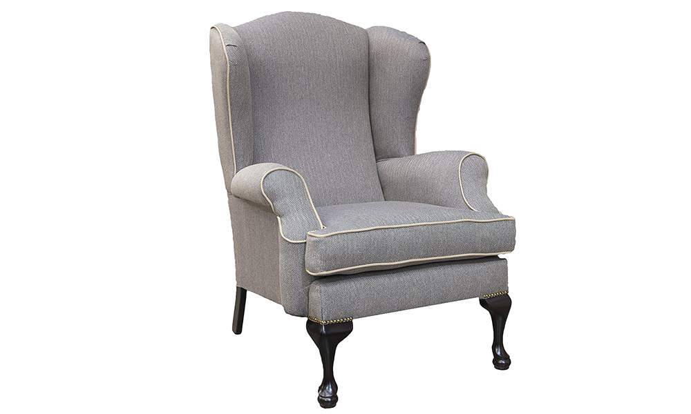 Queen Anne Chair in Port Charcoal, Silver Collection Fabric
