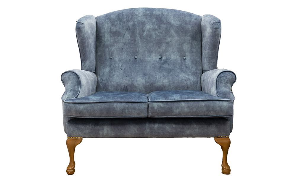 Queen Anne 2 Seater in Lovely Ocean, Gold Collection