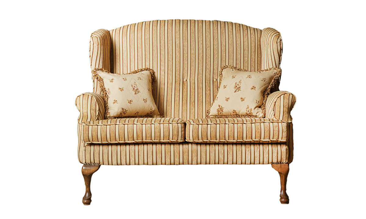 Queen Anne 2 Seater in Semi Ramis Stripe Platinum Collection Fabric