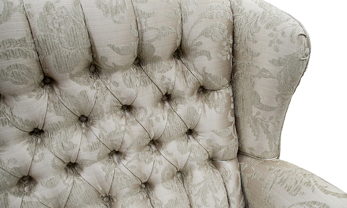 Queen Anne 3 Seater with a Deep Button (bespoke option)  in Burton Champagne Pattern, Silver Collection Fabric
