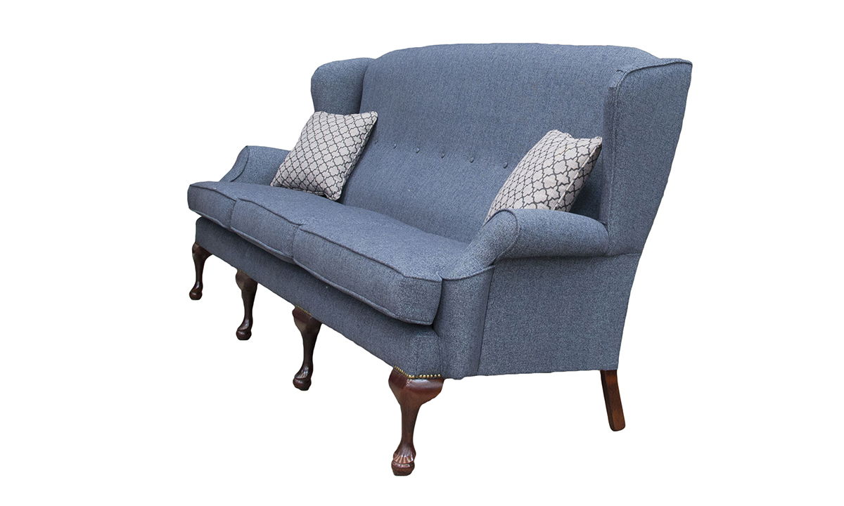 Queen Anne Sofa 4 Seater in Belize Ink , Bronze Collection Fabric