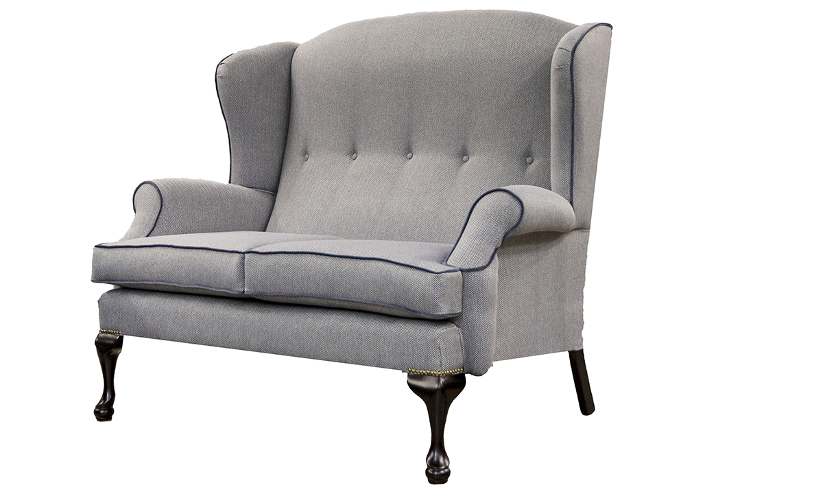 Queen Anne 2 Seater in Porto Charcoal, Silver Collection Fabric