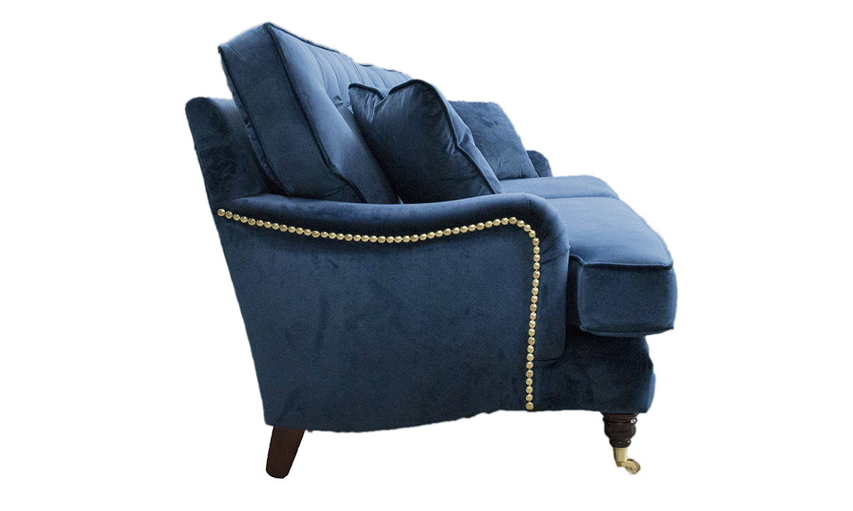 Bespoke Size Sherlock Sofa with a Button Back in Luxor Pacific, Silver Collection Fabric