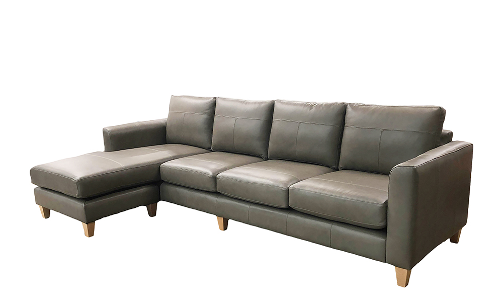 Solo 4 Seater Sofa in Chelsea Dark Olive Leather - 518991