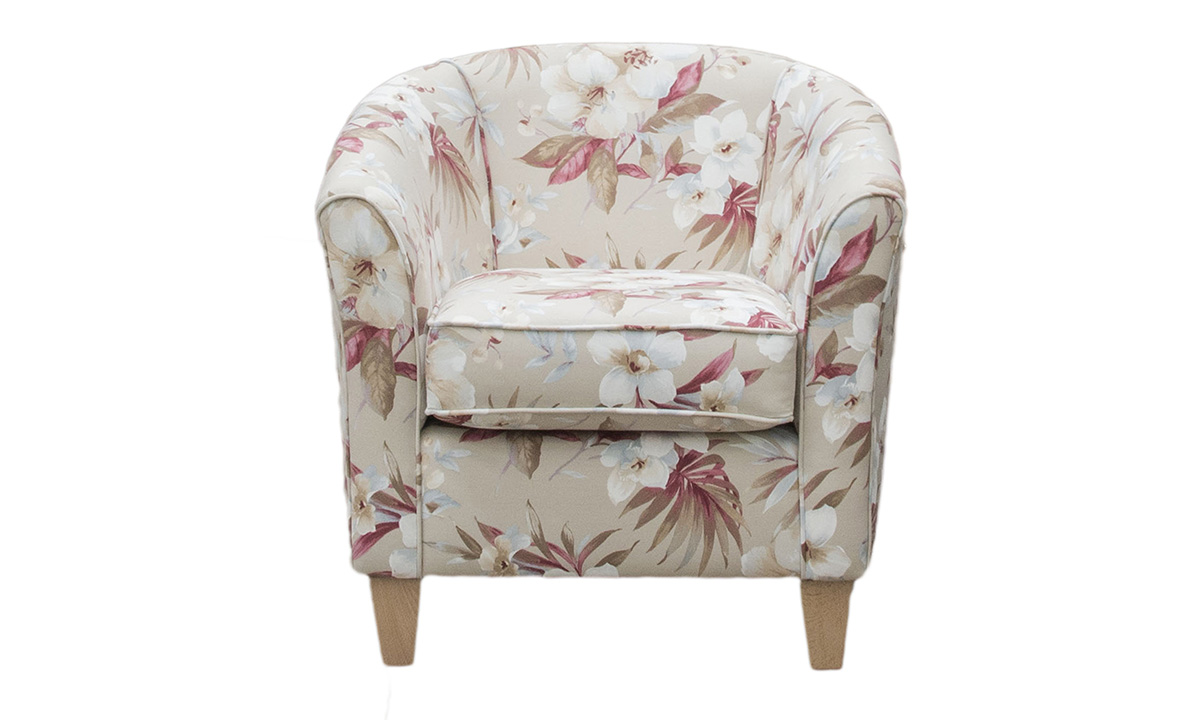 Tub Chair  in 17098, Bronze Collection Fabric