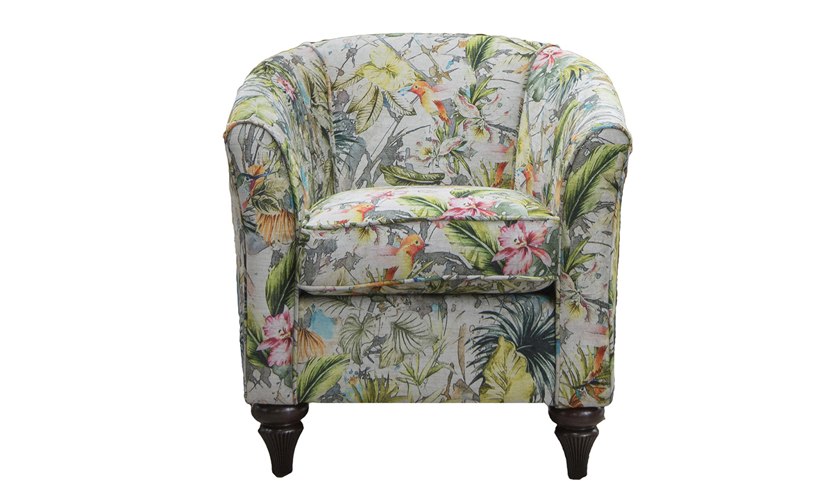 Tub Chair Bespoke in Paradise Multi Platinum Collection Fabric