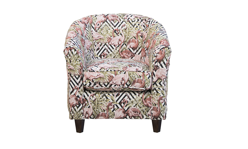 Tub Chair in Flamingo Brick, Gold Collection Fabric