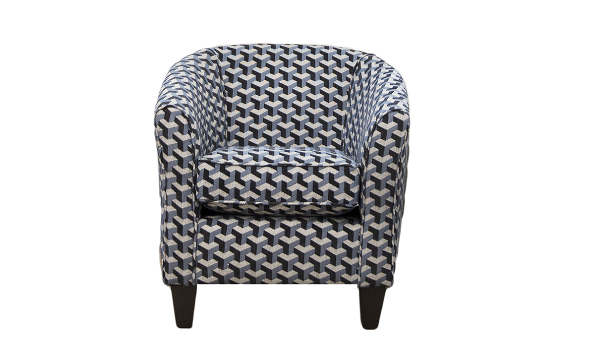 Tub Chair in Levonne Navy Silver Collection Fabric