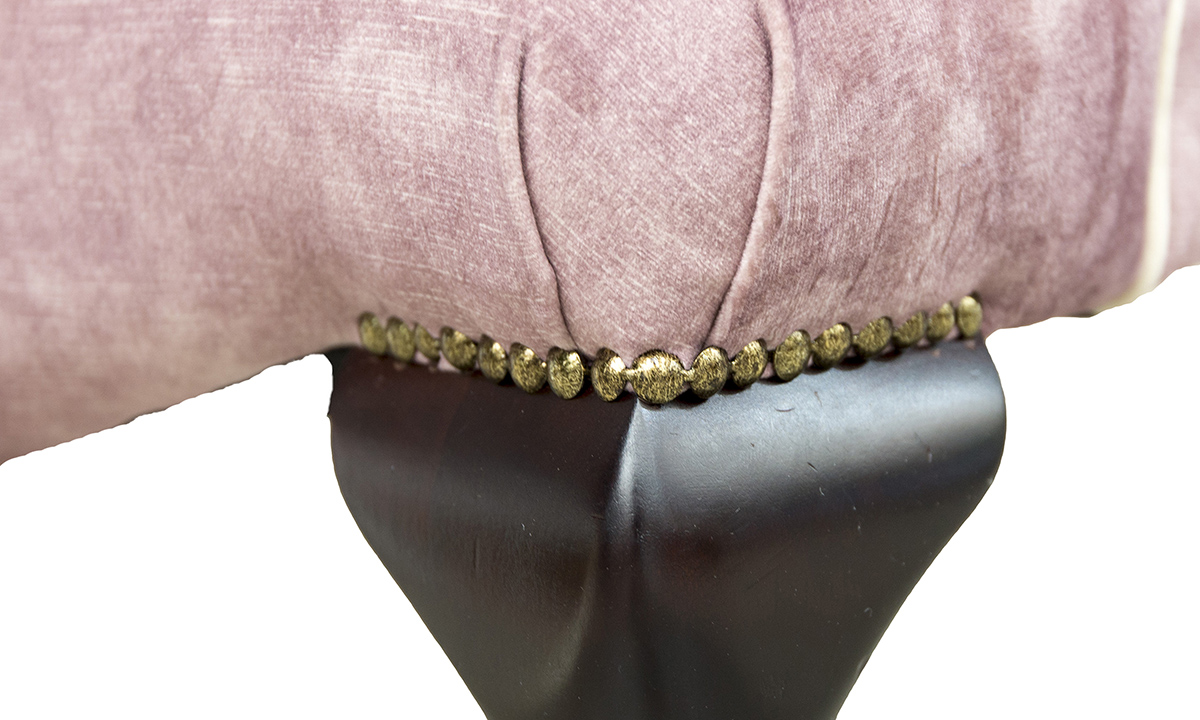 Aisling-Chair-leg-detail-in-Lovely-Oxblood-Gold-Fabric-Collection