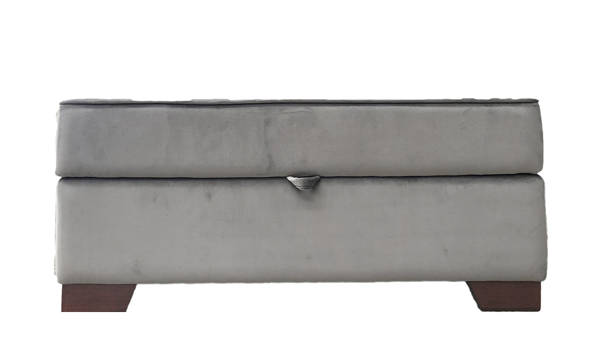 Bespoke Size Othello Storage Footstool in Luxor Dolphin, Silver Collection Fabric