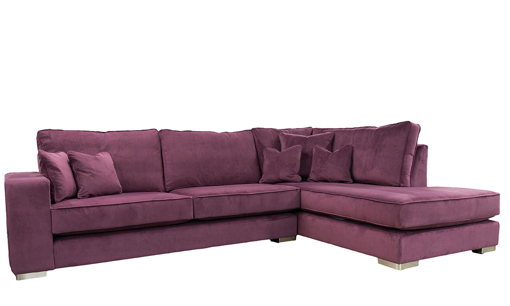 Antonio Chaise Sofa in Warwick Plush Brinjal, Gold Collection Fabric