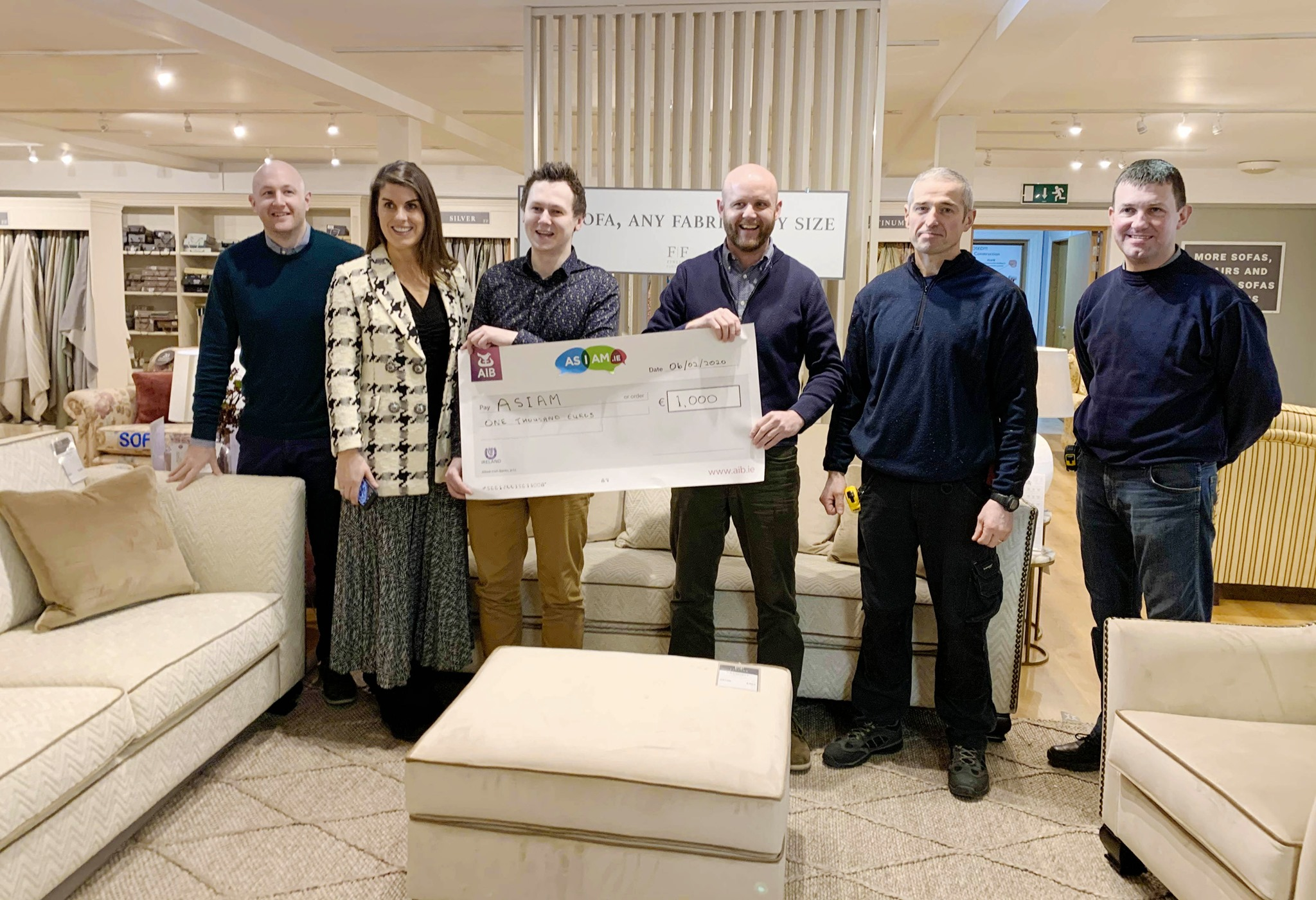 The staff and management of FINLINE FURNITURE were delighted to present Adam Harris, CEO of Autism Charity Asiam.ie with a donation of €1,000