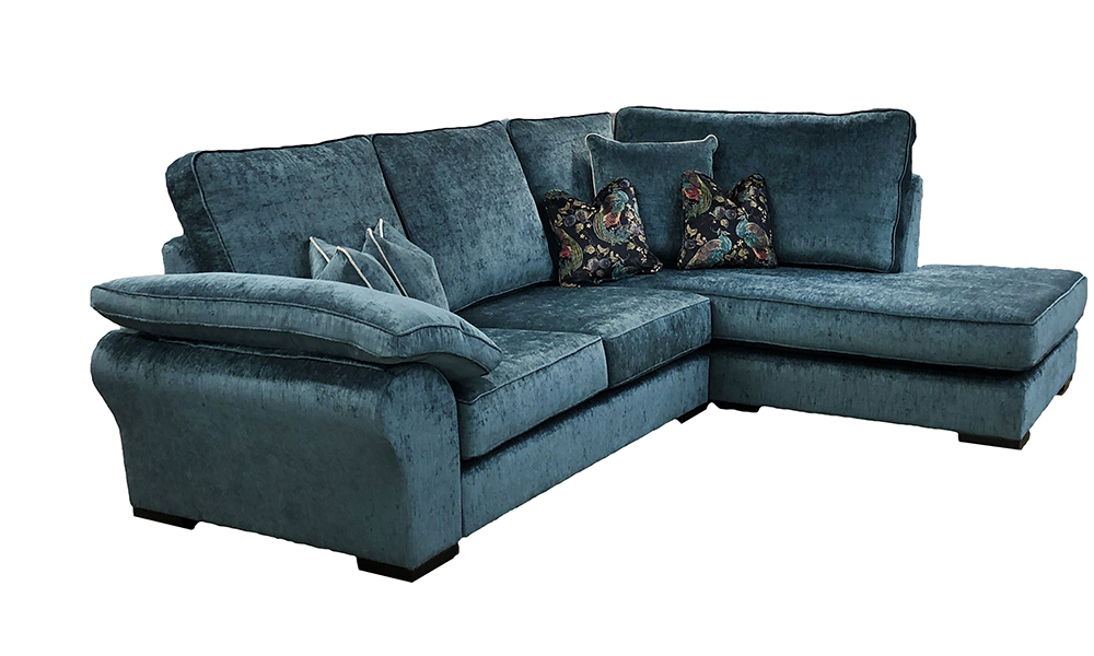 Atlas Chaise Sofa in Edinburgh Petrol, Silver Collection Fabric