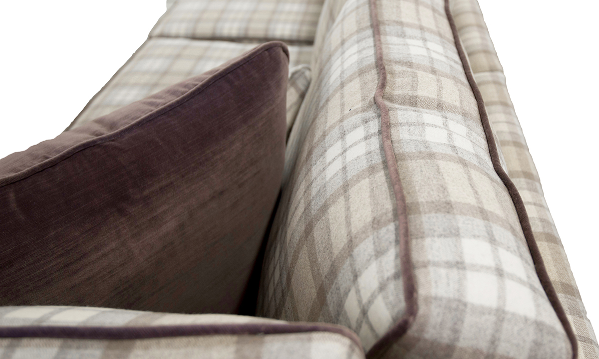 Atlas Corner Sofa back Cushion in Country Plaid Earth Platinum Fabric Collection