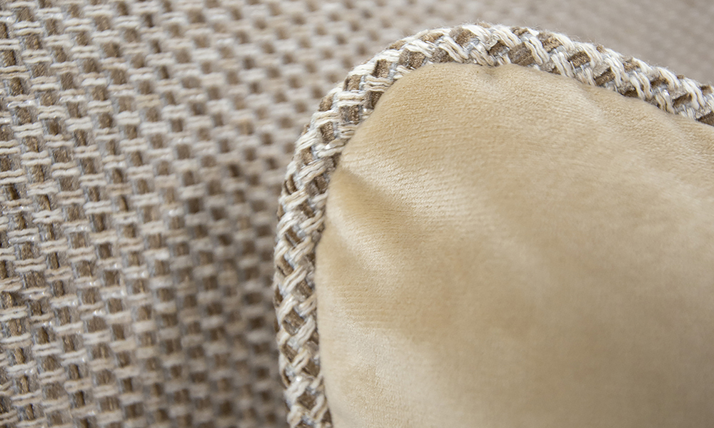Cushion Detail in Luxor Blonde, Silver Collection of Fabric
