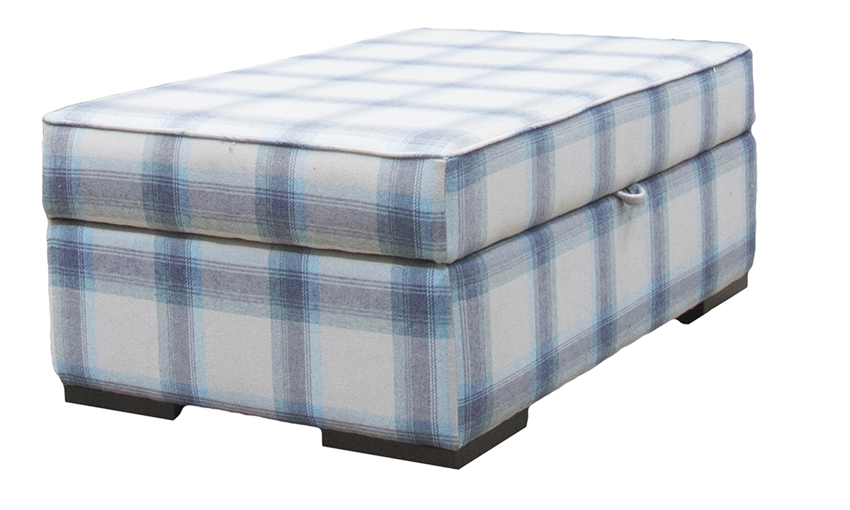 Atlas Storage Island Aviemore Plaid Wedgewood, Silver Collection Fabric