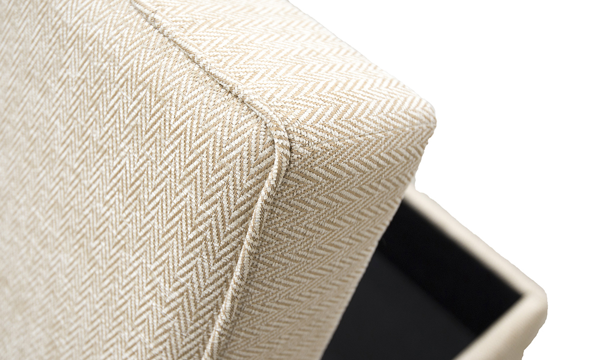 Atlas Storage Island Detail in Lenora Vanilla, Silver Collection Fabric