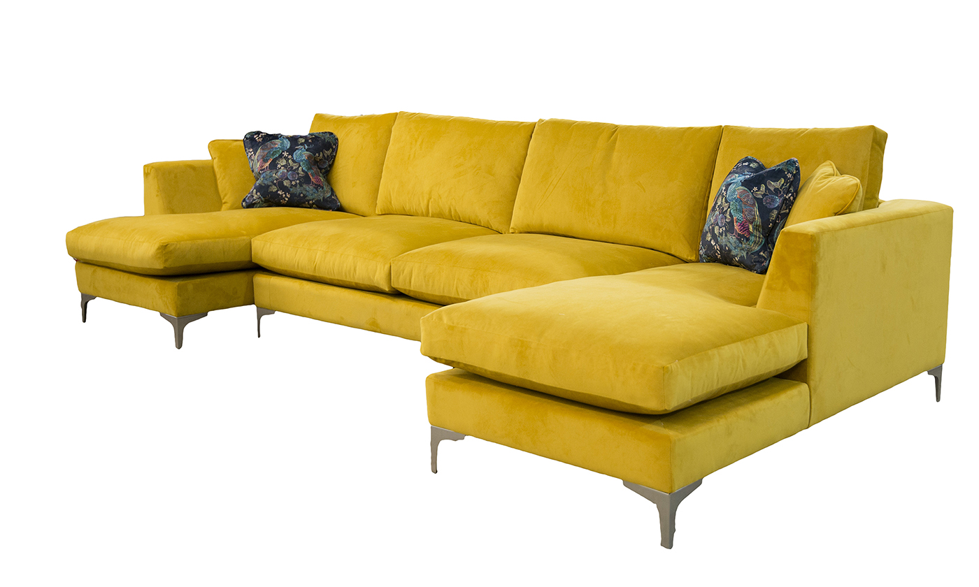 Baltimore Bespoke Size Lounger, in Plush Turmeric Silver Collection Fabric