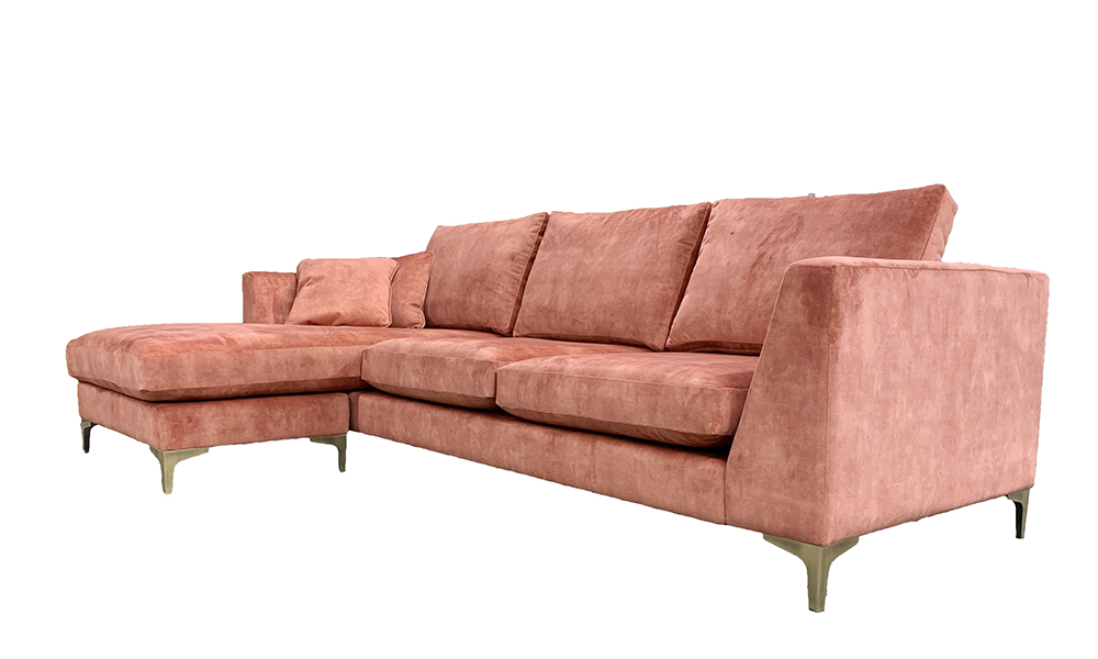 Baltimore Large Lounger in Lovely Coral, Gold Collection Fabric