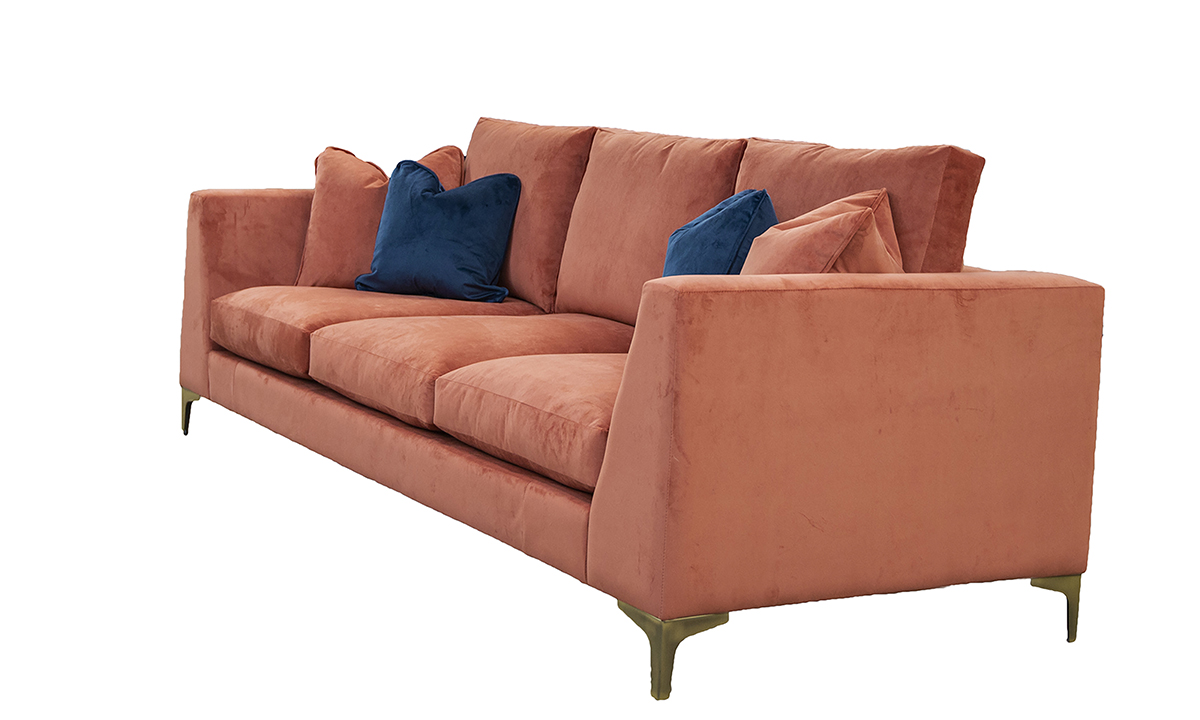 Baltimore 3 Seater Sofa with 3 decks (bespoke option) in Lovely Coral, Gold Collection Fabric