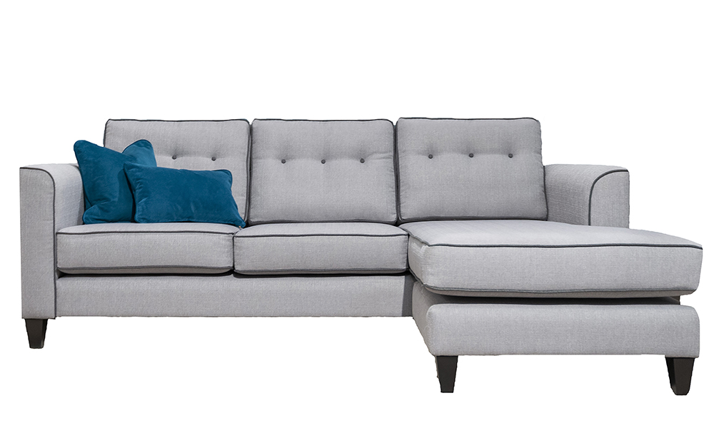 Boland 3 Seater Chaise End Sofa in Aosta Silver, Silver Collection Fabric