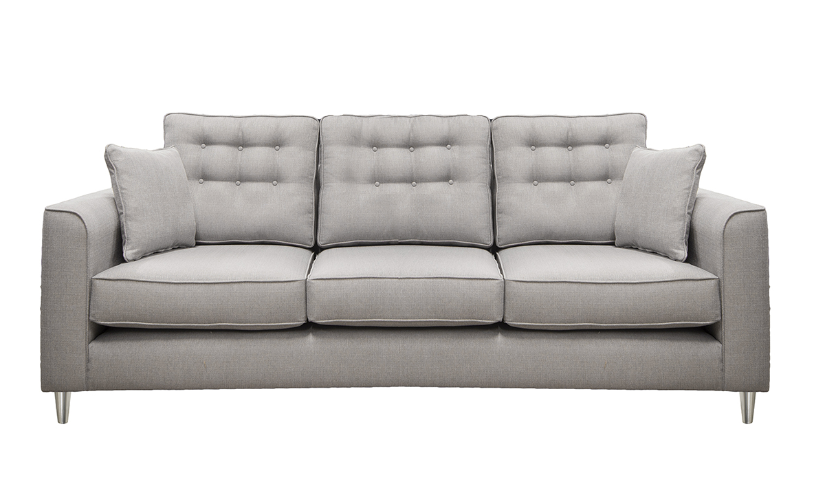 Bespoke Boland Sofa, 2 Rows of Light Buttons in Aosta Silver, Silver Fabric Collection