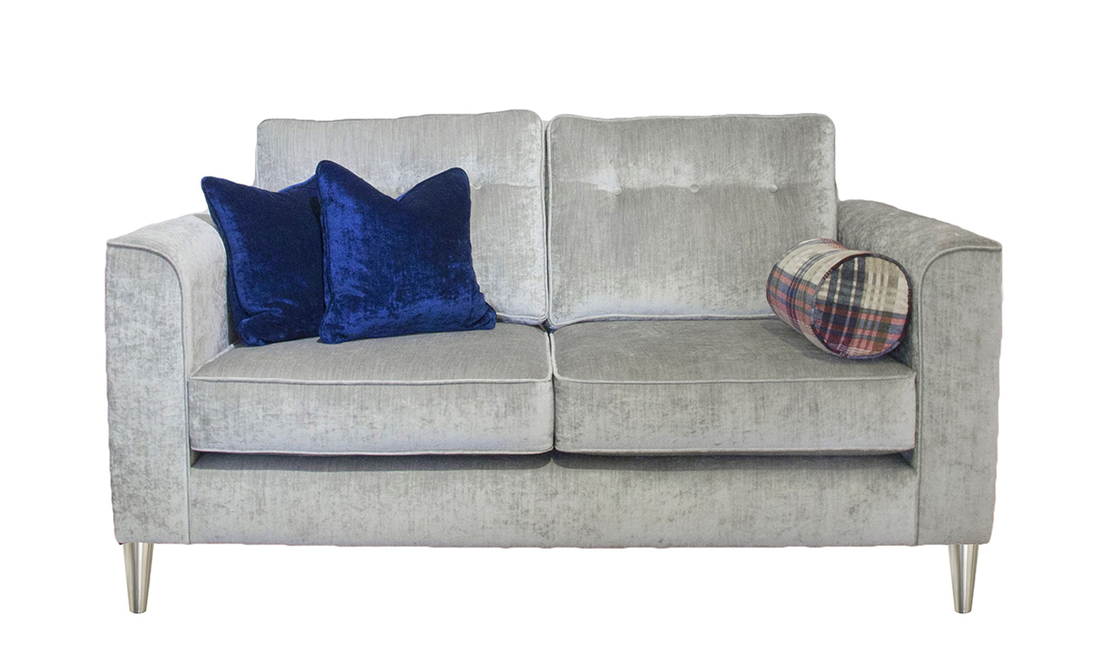 Boland Small Sofa in Mancini Pewter, Gold Collection