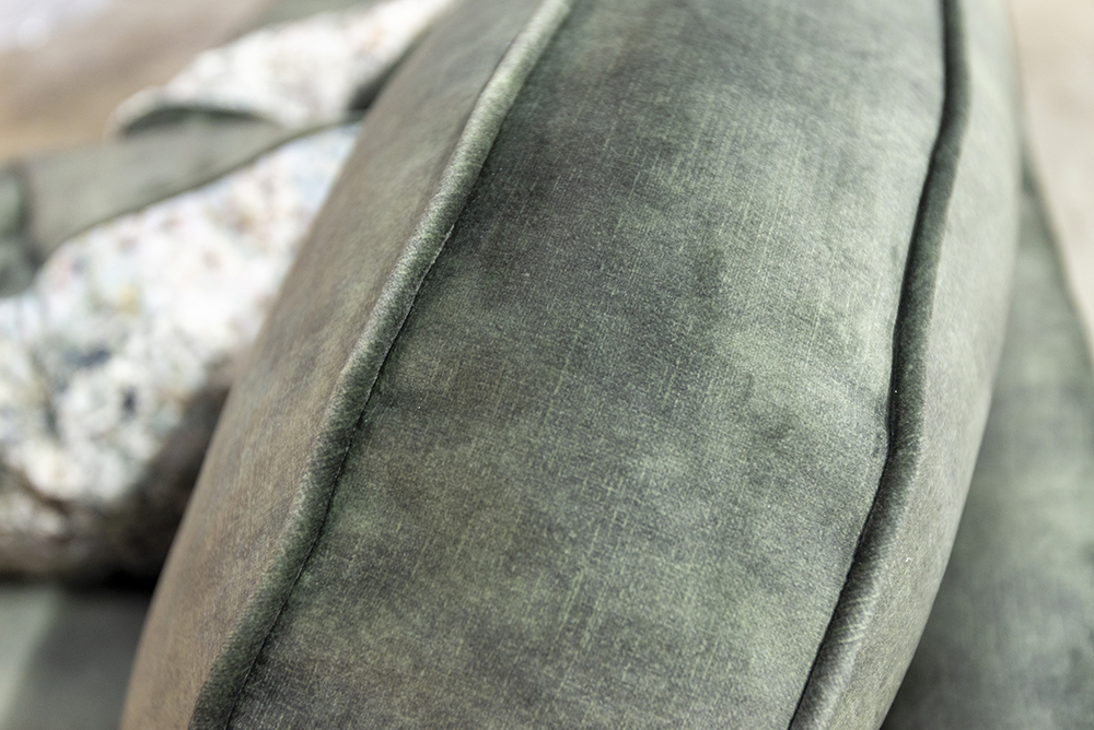 Capella 3 Seater Sofa Back Cushion Detail in Lovely Jade, Gold Collection Fabric