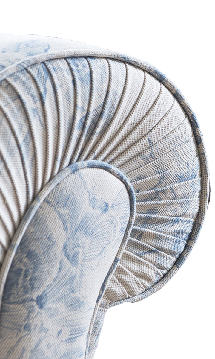 Capella Pleated Arm Detail, Discontinued Fabric