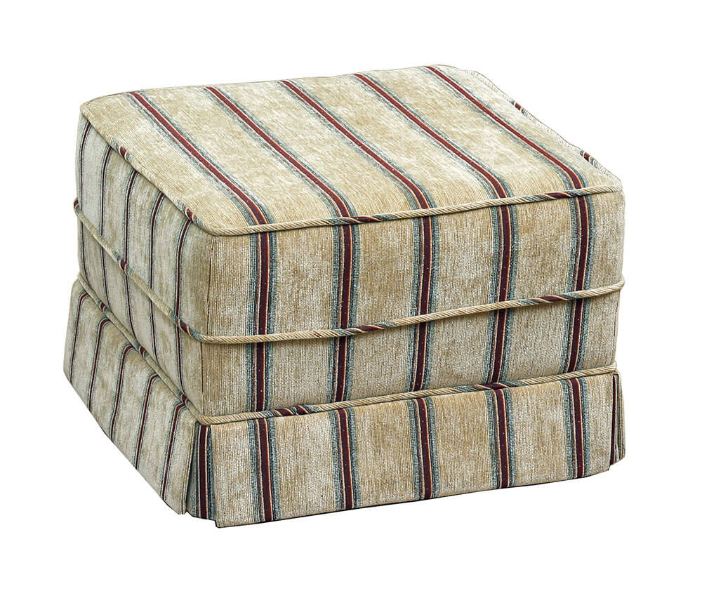 Clare Footstool Madison Stripe {Silver Collection}