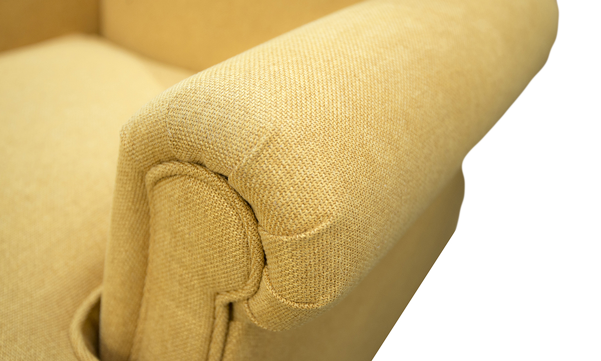 Cleary Chair Arm Detail in Soho Mustard Silver Collection of Fabrics