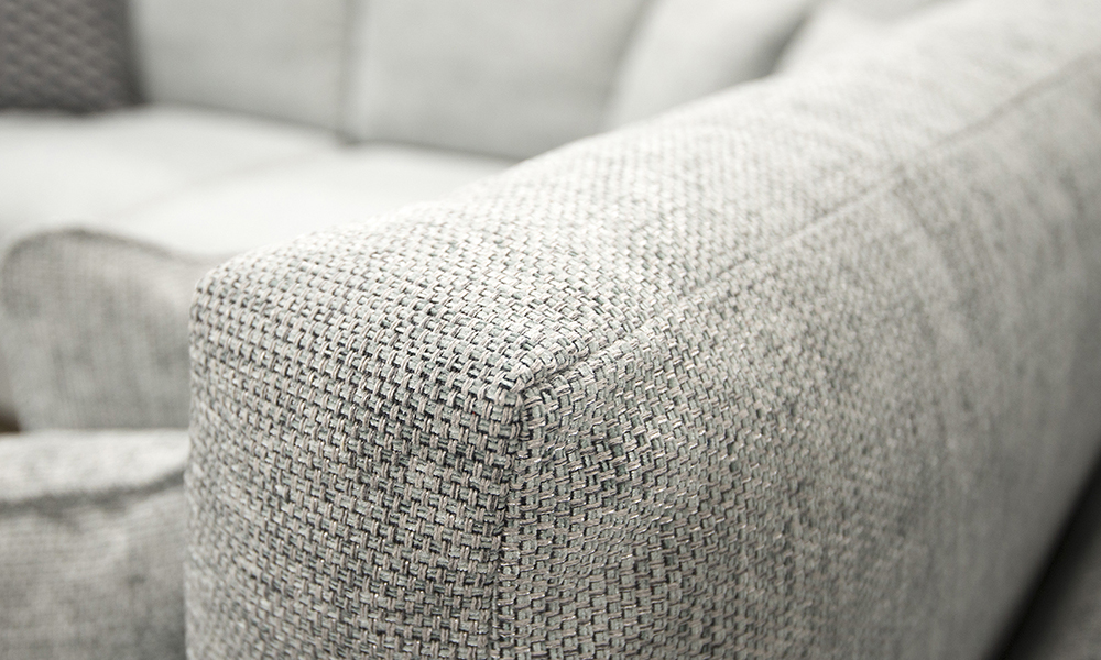 Colorado Corner Back Cushion Detail in Bravo Duck Egg, Silver Collection of Fabrics