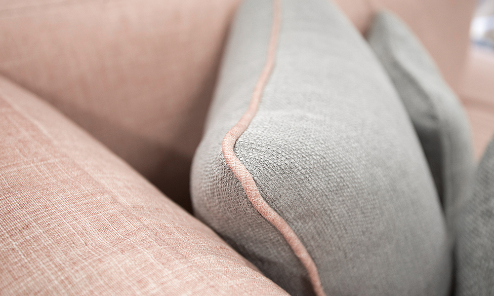 Cushion detail in Aosta Grey Contrast Piped in Havana Rose
