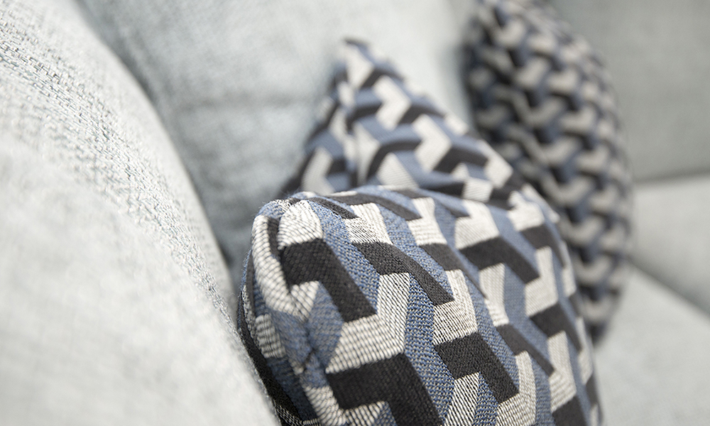 Cushion Detail in Levonne Navy, Silver Collection Detail