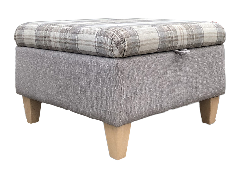 Colorado Storage Footstool Bespoke   Top   Aviemore Plaid Linen   Base    Aosta Silver