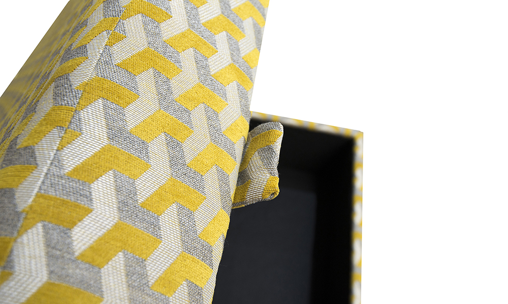 Colorado-Stoarge-Footstool-detail-in-Levonne-mustard-SIlver-Collection-Fabric