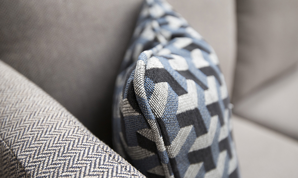 Scatter Cushion in Levonne Navy, Silver Collection Fabric