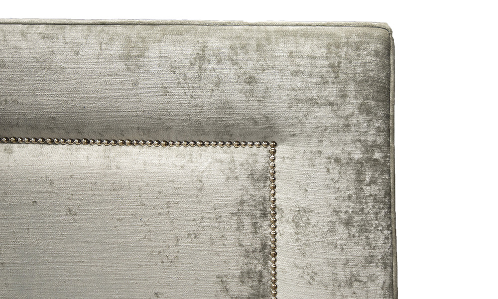 Coolmore 5ft Headboard Close Up, Mancini Pewter, Gold Collection Fabric