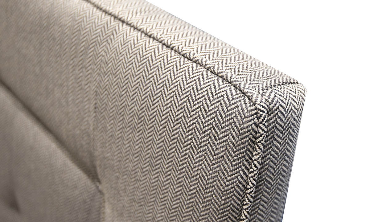 Coolmore Headboard 5ft bespoke light button detail in Porto Caramel Silver Collection of Fabrics