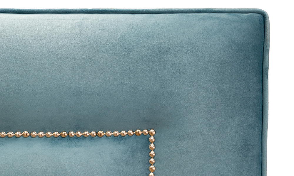 Coolmore Headboard, Detail Luxor Turquoise, Silver Collection Fabric